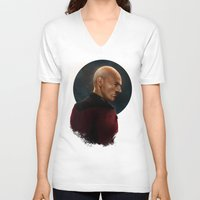 picard V-neck T-shirts featuring Picard by Raven Krupnow