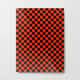 Black and Scarlet Red Checkerboard Metal Print