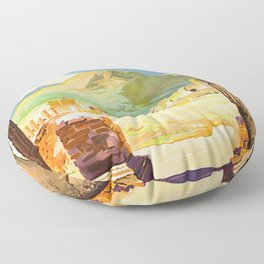 Vintage Pompei Italy Travel Floor Pillow