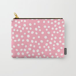 Bright pink and white doodle dots Carry-All Pouch