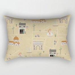 Florence Map Print Illustration Rectangular Pillow