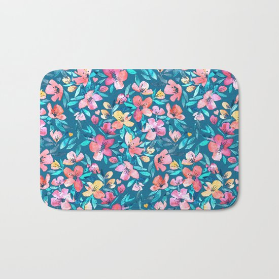 Teal Summer Floral in Watercolors Bath Mat