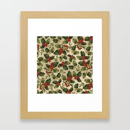Gold and Red Holly Berrys Framed Art Print
