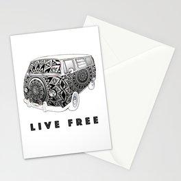 """""""Bus Life"""" B&W Mandala Illustration Stationery Cards"""