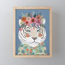White tiger Framed Mini Art Print
