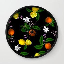 Citrus,floral,oranges,lemons,summer pattern Wall Clock
