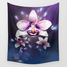 Orchid Meditation Wall Tapestry