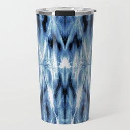 Blue Satin Shibori Argyle Travel Mug