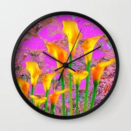 FUCHSIA PURPLE GOLDEN CALLA LILIES GARDEN STILL LIFE Wall Clock