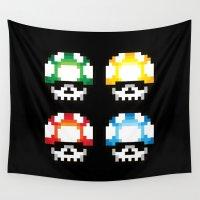 mushroom Wall Tapestries featuring Skull Mushroom by Steven Toang