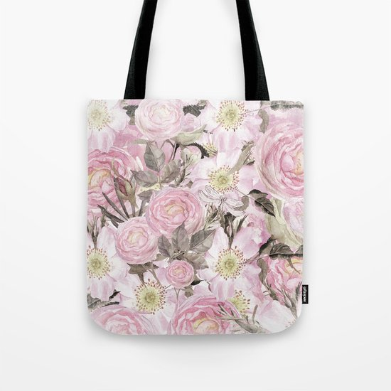 Floral Vintage painterly background in pink with Roses Flowers and insect Tote Bag