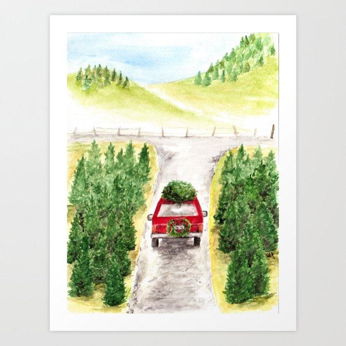 Christmas Tree Farm, Watercolor Art, Holiday, Winter Art Print