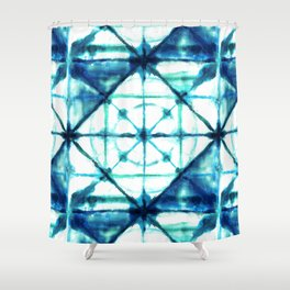 Shibori in Ocean Blues Shower Curtain