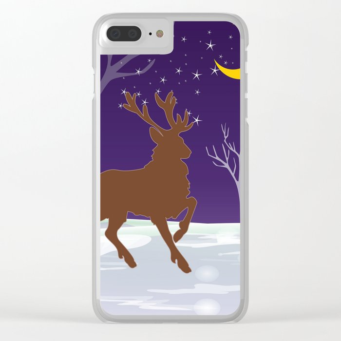Deer on the ice Clear iPhone Case