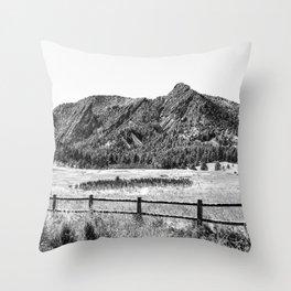 Flatirons Boulder // Black and White Colorado Mountains Snow Dust Fence Line Throw Pillow