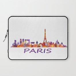 París City Skyline HQ Watercolor Laptop Sleeve