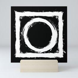 Black and white circle splatter Mini Art Print