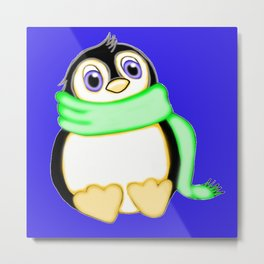 Perky Penguin Blue Metal Print
