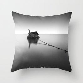Shipwreck Black and White Photographic Art Print Throw Pillow
