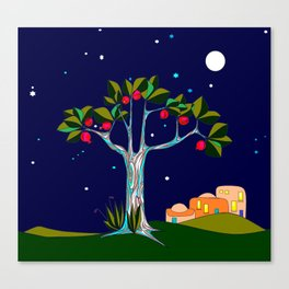 A Pomegranate Tree in Israel at Night, Harvest Canvas Print
