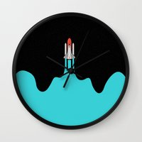 spaceship Wall Clocks featuring Spaceship by fortyfive