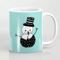 snowman Mugs featuring Snowman by Teaspoon Of Me