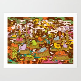 monks into the wood Art Print