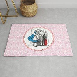 Alice in Wonderland | Alice finds Key and the Door to Wonderland | Pink Damask Pattern | Rug