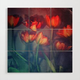 Orange Tulips Wood Wall Art