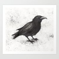 crow Art Prints featuring Crow by Puddingshades