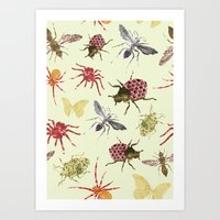 insects Art Prints featuring Insects by Stag Prints