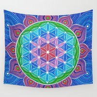 flower of life Wall Tapestries featuring Lotus Flower of Life by Elspeth McLean