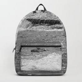 Black and white rushing water Backpack