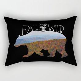 Fall of the Wild Autumn Mountain Wilderness Landscape Bear Silhouette Black Rectangular Pillow