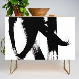 Brushstroke 2 - simple black and white Credenza