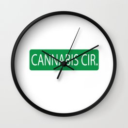 Cannabis Circle Street Sign Wall Clock