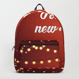 Happy holiday, Christmas sign with snow flake and christmas decoration on the red background Backpack