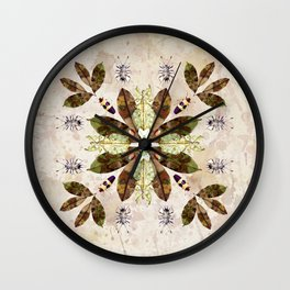 Magnolia Leaves and Insect Camoflage Pattern II Wall Clock