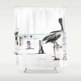 Pelican | Pelícano | The the long wait hunting Shower Curtain
