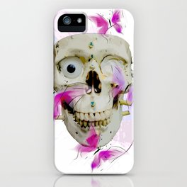 Skull and Butterfly Watercolor design iPhone Case