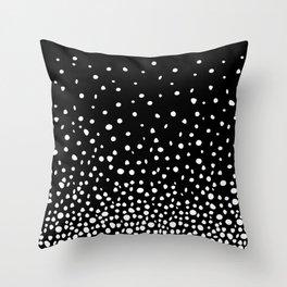 White Polka Dot Rain on Black Throw Pillow
