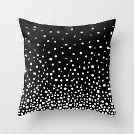 White Polka Dot Rain on Black Throw Pillow