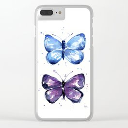 Butterflies Watercolor Blue and Purple Butterfly Clear iPhone Case