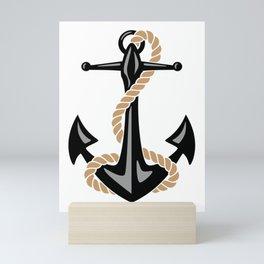 Classic Nautical Anchor and Rope Design Mini Art Print
