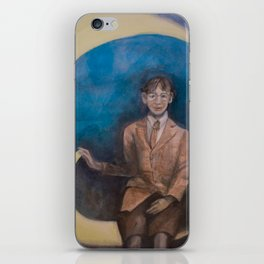 Watercolor Portrait of Boy on a Crescent Moon iPhone Skin