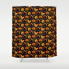 Halloween Mouse Ears Pumpkins MNSSHP Shower Curtain