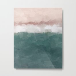 Coral Blush Pink Green Teal Ocean Sunset Shorebreak Abstract Nature Painting Art Print Wall Decor  Metal Print
