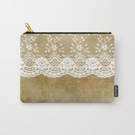 The elegant lady- White luxury foral lace on grunge backround Carry-All Pouch