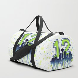 Seattle 12th Man Art Seattle Skyline Space Needle Duffle Bag