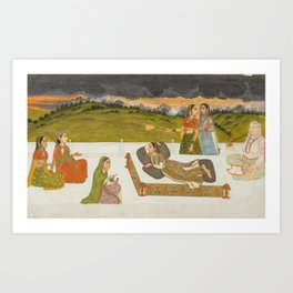 A Princess Reclining on a Terrace with Attendants - 18th Century Classical Indian Art Art Print